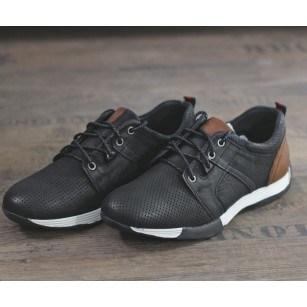 Мъжки спортно-елегантни обувки от естествена кожа Cervo Freedom черни