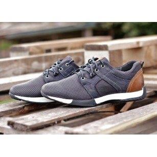 Мъжки спортно-елегантни обувки от естествена кожа Cervo Freedom сини