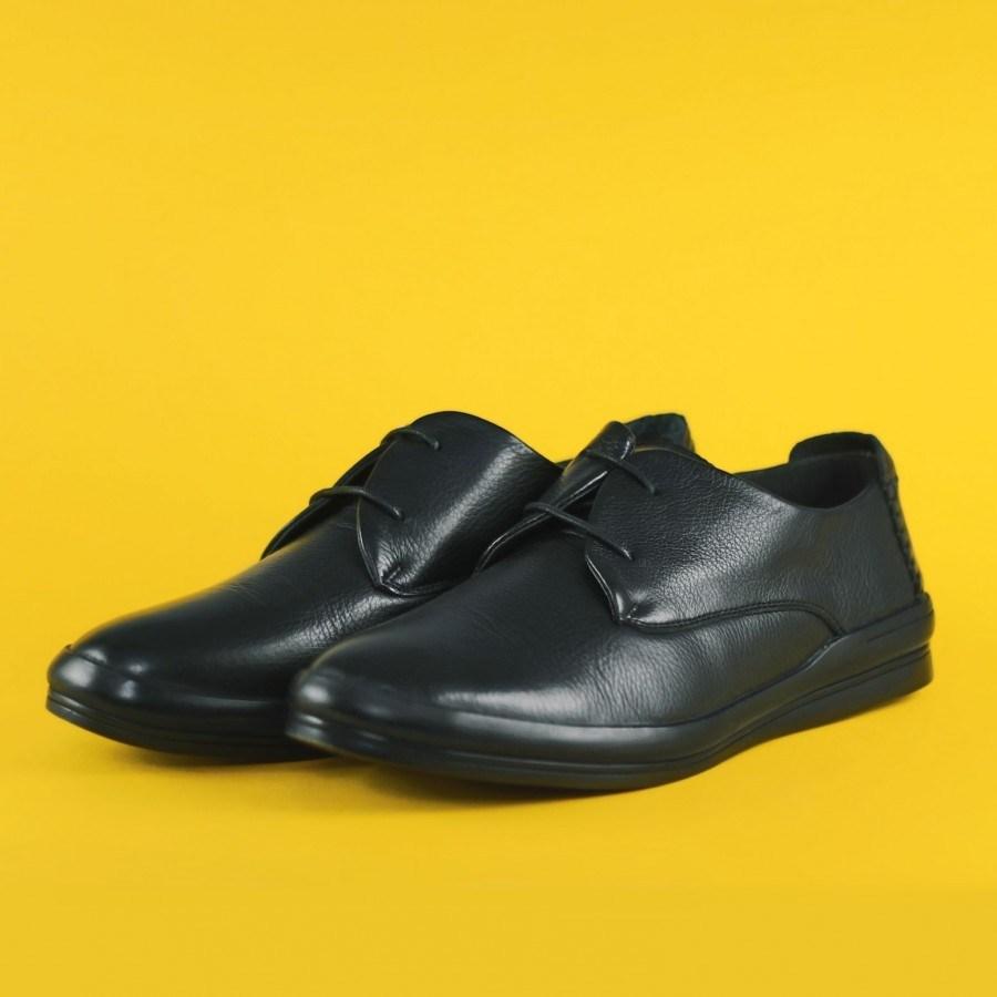 Мъжки обувки от естествена кожа Cervo Andiamo черни