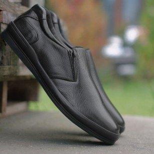 Мъжки обувки без връзки от естествена кожа Cervo My Way черни