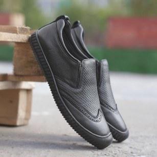 Мъжки спортно-елегантни обувки от естествена кожа Cervo черни