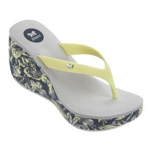 Дамски чехли на платформа Zaxy LIPSTICK VI FEM черни/зелени