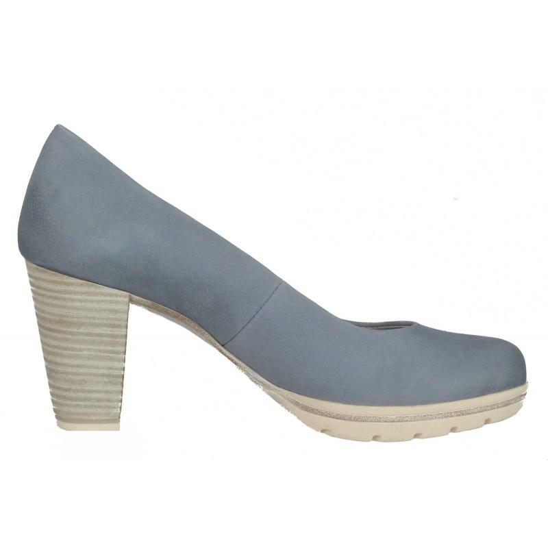 Дамски елегантни обувки на ток Marco Tozzi сини ANTISHOKK® мемори пяна