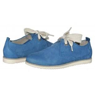 Дамски равни обувки от естествена кожа Marco Tozzi сини