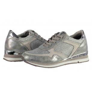 Дамски спортни обувки с връзки Marco Tozzi сребристи мемори пяна