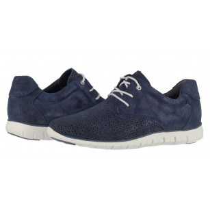 Дамски спортни кожени обувки с връзки Marco Tozzi сини