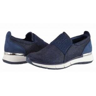 Дамски спортни обувки без връзки Marco Tozzi сини камъни мемори пяна