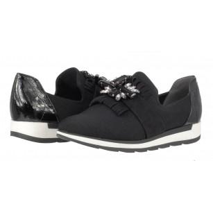 Дамски спортни обувки с брошка черни Marco Tozzi® мемори пяна