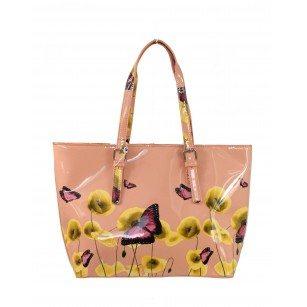 Дамска лачена чанта с пролетен принт Marina Galanti® Firenze розова