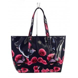 Дамска лачена чанта с пролетен принт Marina Galanti® Firenze синя