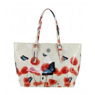 Дамска лачена чанта с пролетен принт Marina Galanti® Firenze бял