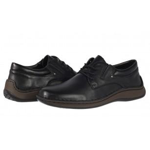Мъжки обувки от естествена кожа с връзки Rieker ANTISTRESS черни 05219-00