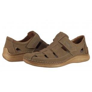 Мъжки летни обувки от естествена кожа Rieker бежови 05288-64