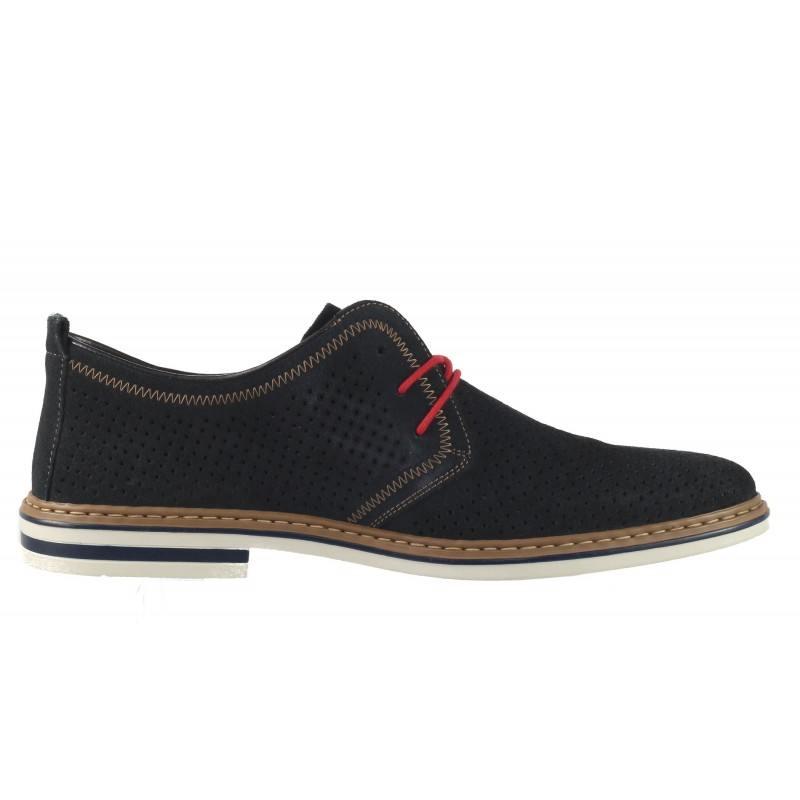 Мъжки кожени обувки Rieker сини ANTISTRESS 140614