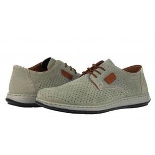 Мъжки анатомични обувки от естествена кожа Rieker ANTISTRESS сиви 17325-42