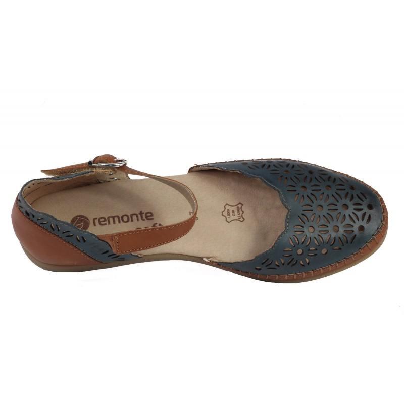 Дамски анатомични сандали от естествена кожа Remonte сини/кафяви