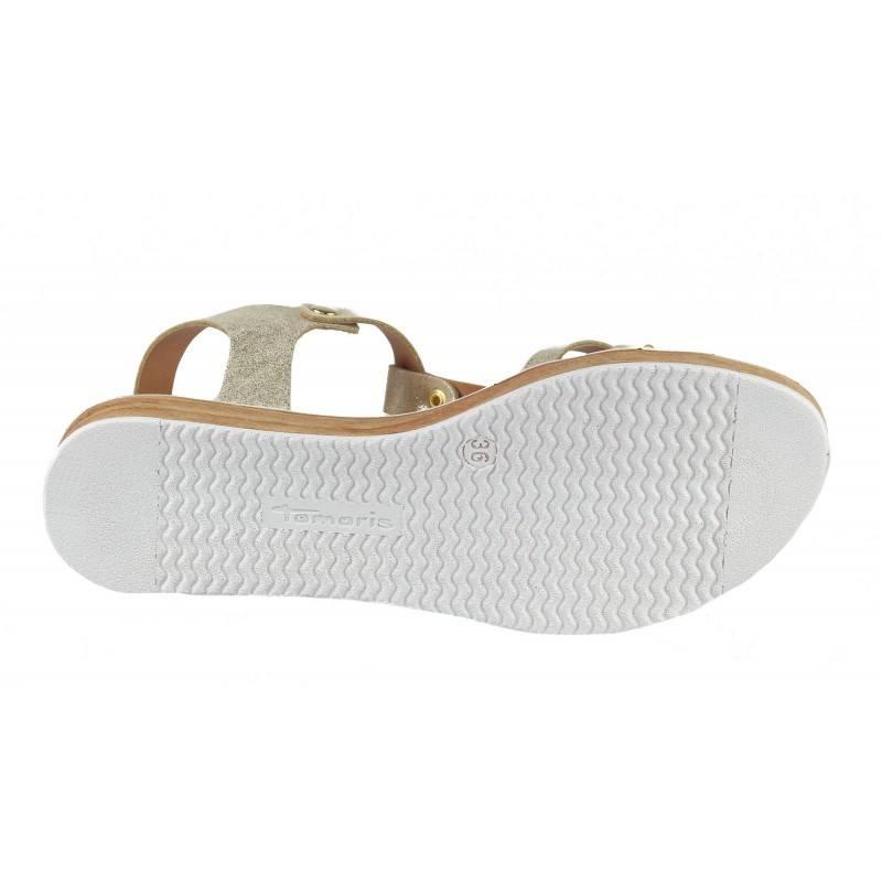 Дамски анатомични сандали от естествена кожа Tamaris златисти мемори пяна