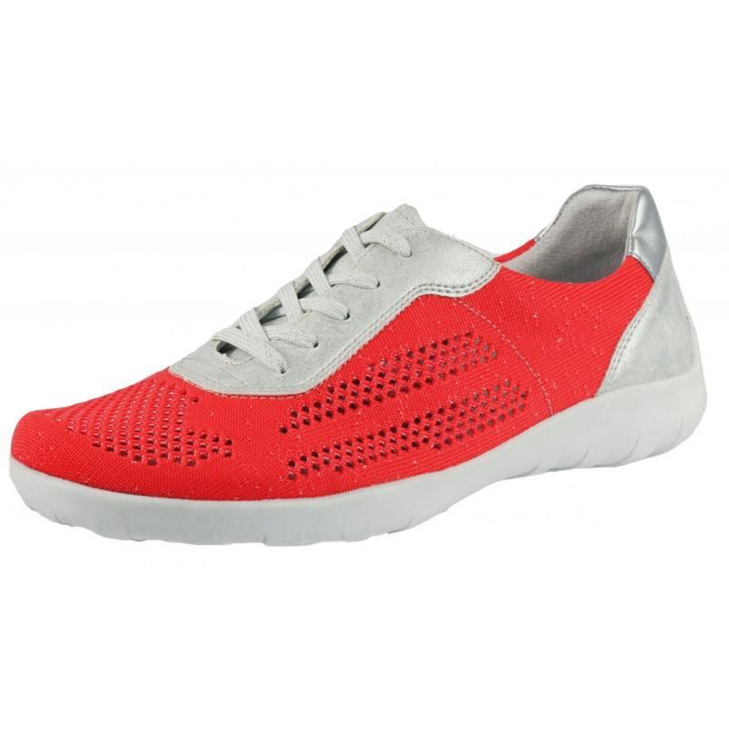 Дамски спортни обувки с връзки Remonte корал/бели