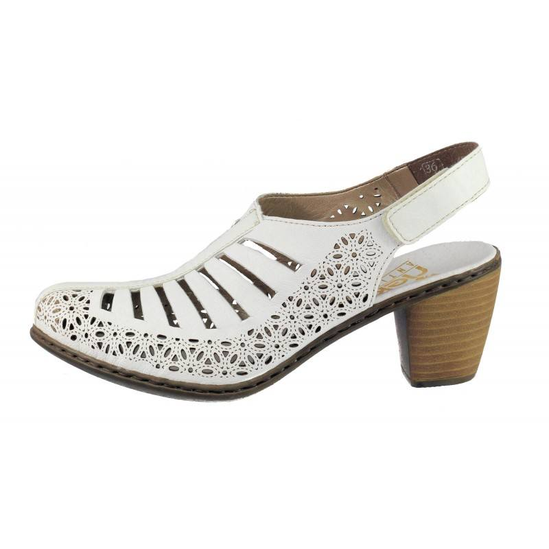 Дамски сандали от естествена кожа Rieker бели 40959-80