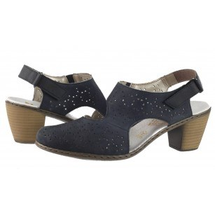 Дамски сандали от естествена кожа Rieker сини 40979-14