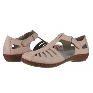 Дамски летни обувки от естествена кожа Rieker розови 45865-31