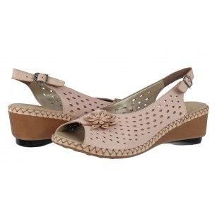 Дамски сандали на платформа Rieker бежови/розови 66177-31