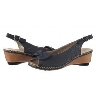 Дамски сандали естествена кожа Rieker сини 66178-14