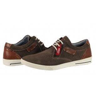 Мъжки спортно-елегантни обувки от естествен велур S.Oliver кафяви