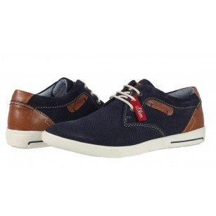Мъжки спортно-елегантни обувки от естествен велур S.Oliver сини
