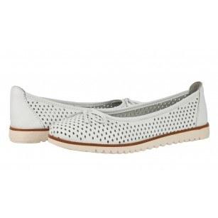 Дамски равни обувки Tamaris бели естествена кожа мемори пяна