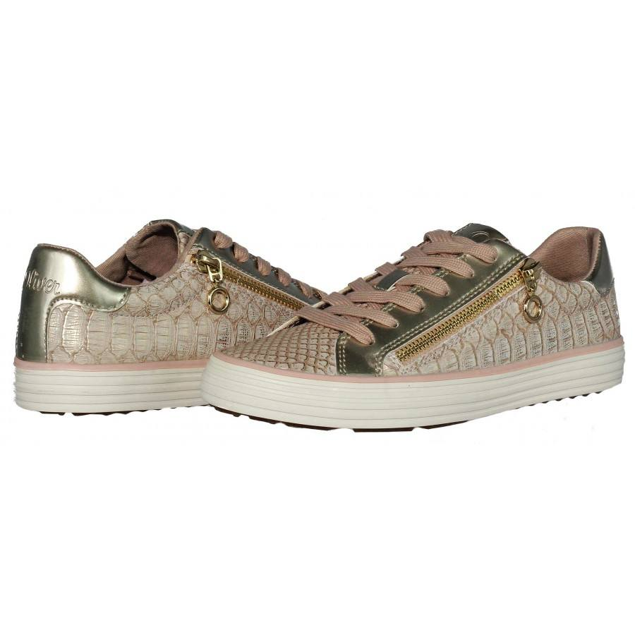 Дамски спортни обувки S.Oliver розови/златисти Softfoam мемори пяна