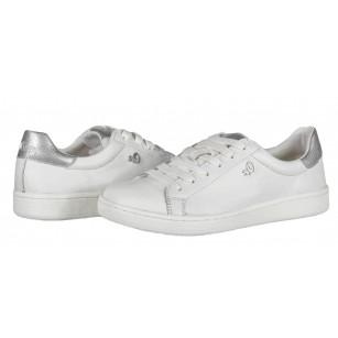 Дамски спортни обувки кецове S.Oliver бели естествена кожа мемори пяна
