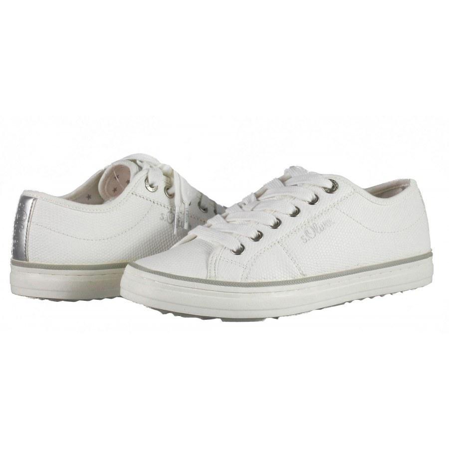 11a23438802 ✓ Дамски спортни обувки с връзки S.Oliver бели мемори пяна 5-5 ...