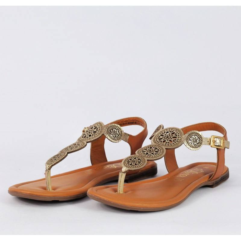 Дамски равни сандали от естествена кожа S.Oliver златисти