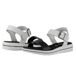 Дамски сандали от естествена кожа S.Oliver черни/бели