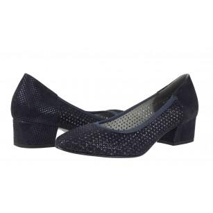 Дамски обувки на ток естествена кожа Salamander сини