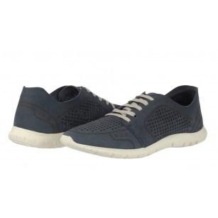 Дамски спортни обувки от естествена кожа Salamander перфорирани сини