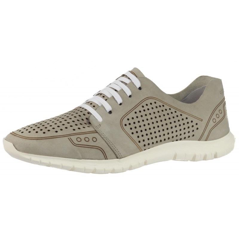 Дамски спортни обувки от естествена кожа Salamander перфорирани сиви