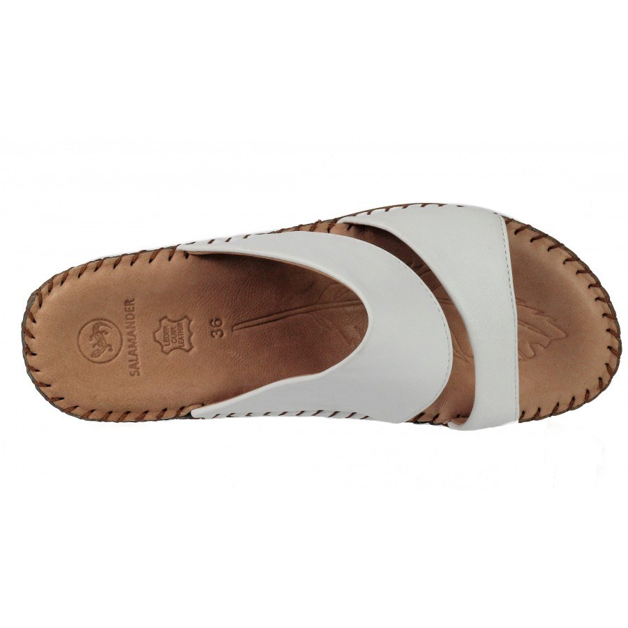 5dd49ddf1cb Дамски чехли на платформа естествена кожа Salamander бели ...