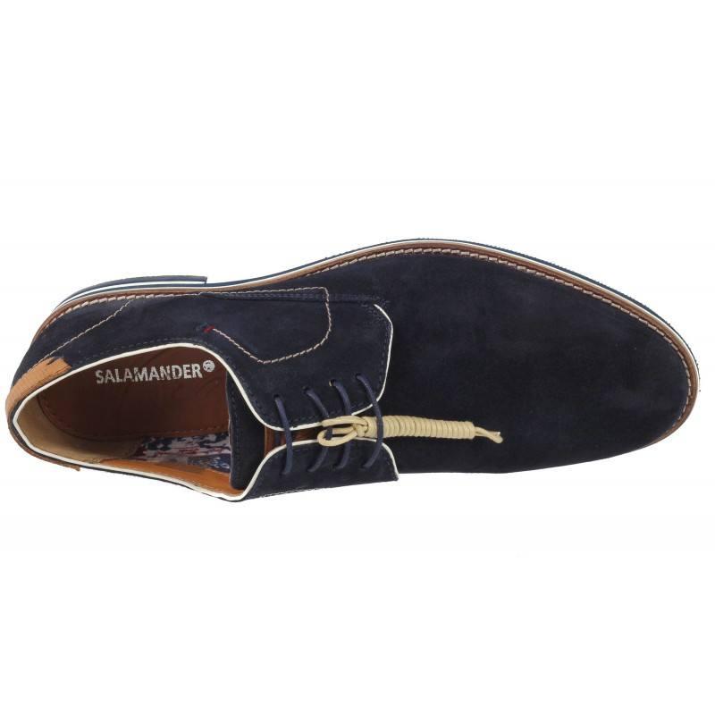 Мъжки елегантни обувки от естествен велур Salamander сини