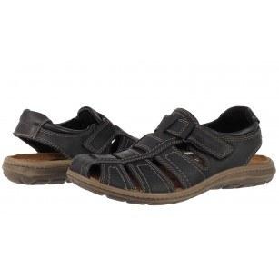 Мъжки затворени сандали от естествена кожа Salamander черни