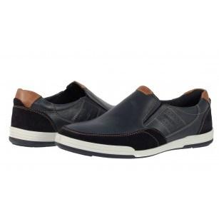 Мъжки обувки от естествена кожа без връзки Salamander сини
