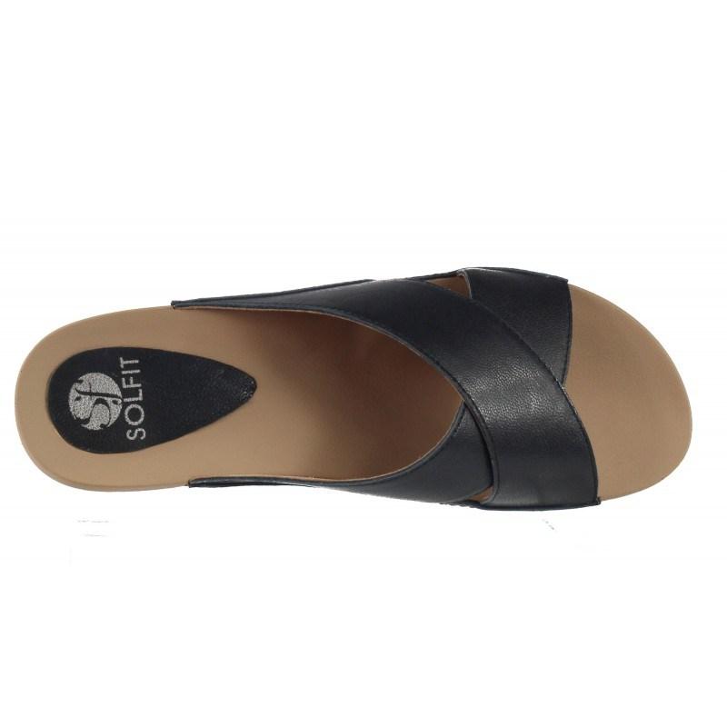 Дамски анатомични чехли от естествена кожа Solfit сини