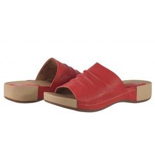 Дамски анатомични чехли от естествена кожа Solfit червени