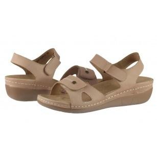 Дамски анатомични сандали от естествена кожа Solfit бежов