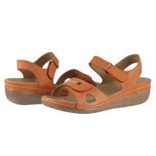 Дамски анатомични сандали от естествена кожа Solfit оранжеви