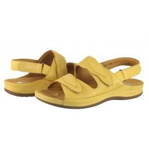 Дамски анатомични сандали от естествена кожа Solfit жълти