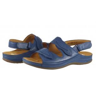 Дамски анатомични сандали от естествена кожа Solfit сини