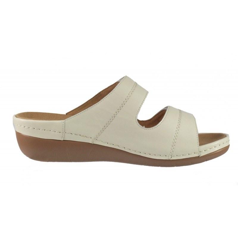 Дамски анатомични чехли от естествена кожа Solfit бели