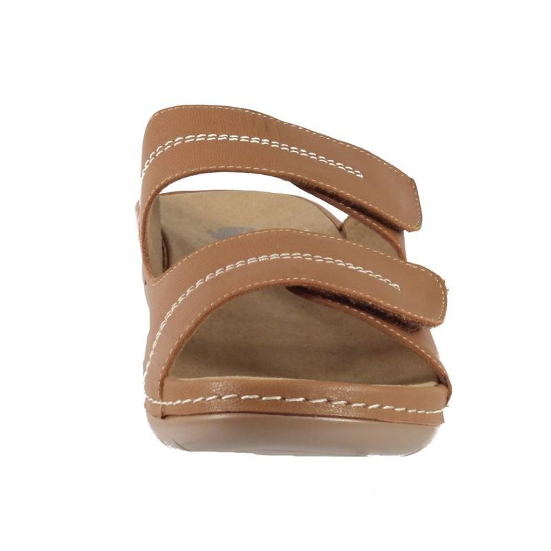 Дамски анатомични чехли от естествена кожа Solfit кафяви